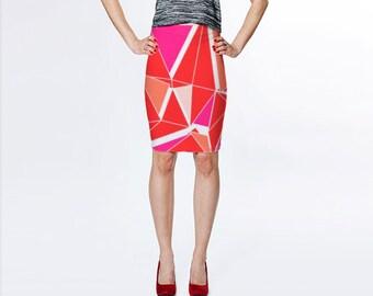 Orange Pink and White Print Skirt, Fitted Skirt, Graphic Print Skirt, Geometric Print Skirt, Retro Print Skirt