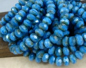 6x8mm Rondelle, Czech Glass Beads - French Blue Denim Blue Glass Beads with Transparent (RJ1511) - Qty 12