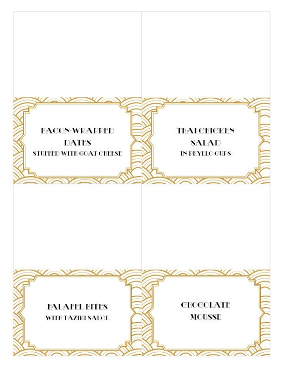 Great gatsby black and gold printable food tent labels by hello