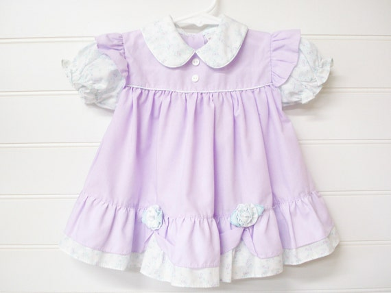 Vintage Baby Dress Clothes Lavender Floral