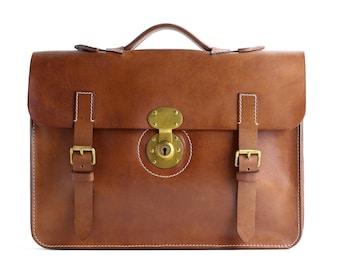Handcrafted Leather Briefcase  - Mens Satchel or Bag - Laptop Bag