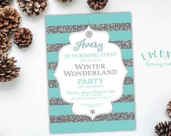 Winter Birthday Invitation, Winter Invitation, Winter Party Invitation, Winter Onederland, Glitter Invitation
