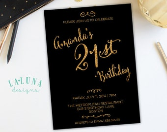 21st Birthday Invitation, 30th Birthday Invitation, 40th Birthday Invitation, Adult Birthday Invite, Gold Glitter Birthday Invitation