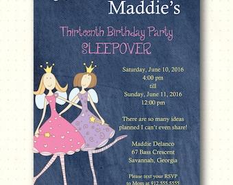 Teen Birthday Party Invitation, birthday, girl, denim, sleepover, teen, 13th, 14th, 15th, 16th  digital, printable, invite TB1032