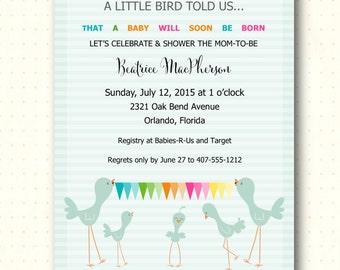 Baby Shower Invitation, gender neutral, boy, girl, mint, sprinkle, sip and see, gender reveal, bunting, digital, printable, invite, B1401
