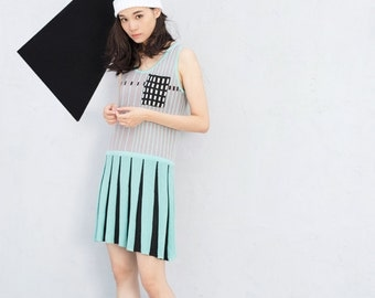 Mint Sleeveless Pleated Knitted Tank Dress with Pocket