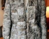 RESERVED Vintage Gray Rabbit Fur Coat, size Medium