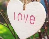 Hanging Heart / Heart ornaments / clay tags - home decoration or Wedding decoration