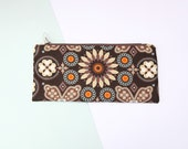 Flat pencil case FP10 (Brown geometric print with turquoise English floral lining)