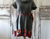 Sale Light Grey  upcycled Sweater Dress Upcycled Clothing Eco Fashion  Junk Gypsy Boho Chic