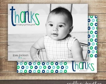 Photo Thank You Card / 1st, 2nd, 3rd Children's Birthday Photo Card / Personalized Thank You / Blue and Green - Printable File or Printed