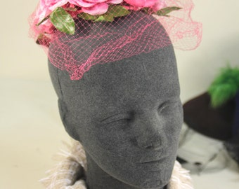 Vintage Pink & Green Floral Pill Box Hat with Pink Netting Veil - Garden Party Style