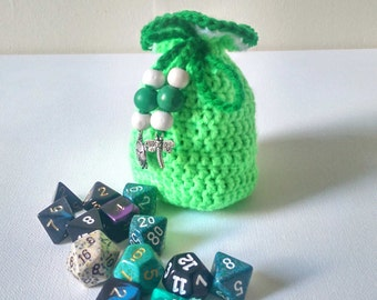 Green Dice Bag, Hand Crocheted Neon Green Pouch, Small Coin Purse with Tibetan Silver Charms, Dungeons and Dragons Handmade Yarn Bag