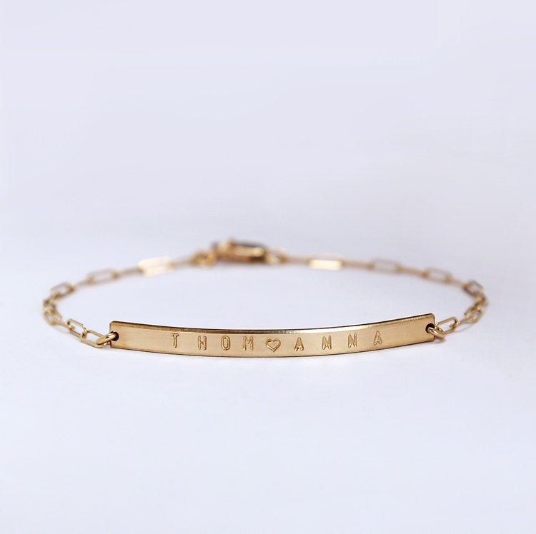 personalized gold bracelet engravable bar bracelet