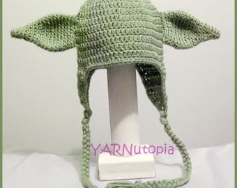 DIGITAL DOWNLOAD: Crochet PATTERN for Yoda Earflap Hat Size Infant to Large Adult 6 different Sizes