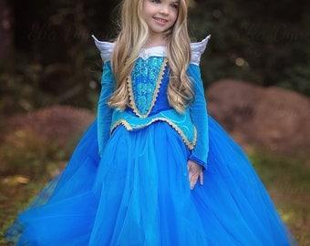 Sleeping Beauty Aurora Costume - Blue Pink Dress Maleficent Disney Movie