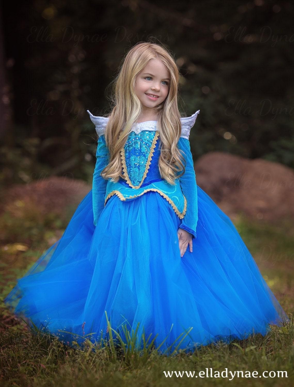 Sleeping Beauty Aurora Costume Blue Pink Dress Maleficent