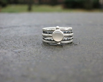 White Moonstone Stack Ring Set - Sterling Silver Gemstone Ring - Bezel Set Stacking Ring - Hammered Ring