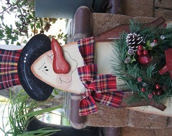 Snowman Christmas or Winter Sign - Wood Christmas Outdoor Yard Decoration - Welcome Sign