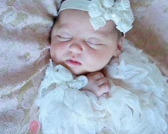 Newborn Headband..Baby Girl Headband..Cream Bow Headband..Baby Headband..Toddler Headband..Infant Headband