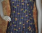Vintage 1960 ditsy navy printed sleeveless mini mod scooter dress (5037)