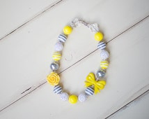 Gray Yellow Necklace, chunky bubblegum bead necklace, girls necklace, birthday bubble gum necklace, baby necklace for pictures