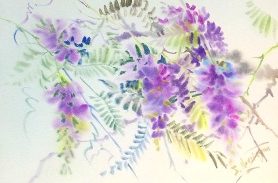 Glicine pittura 24 x 16 a arte dei fiori di glicine viola for Glicine disegno