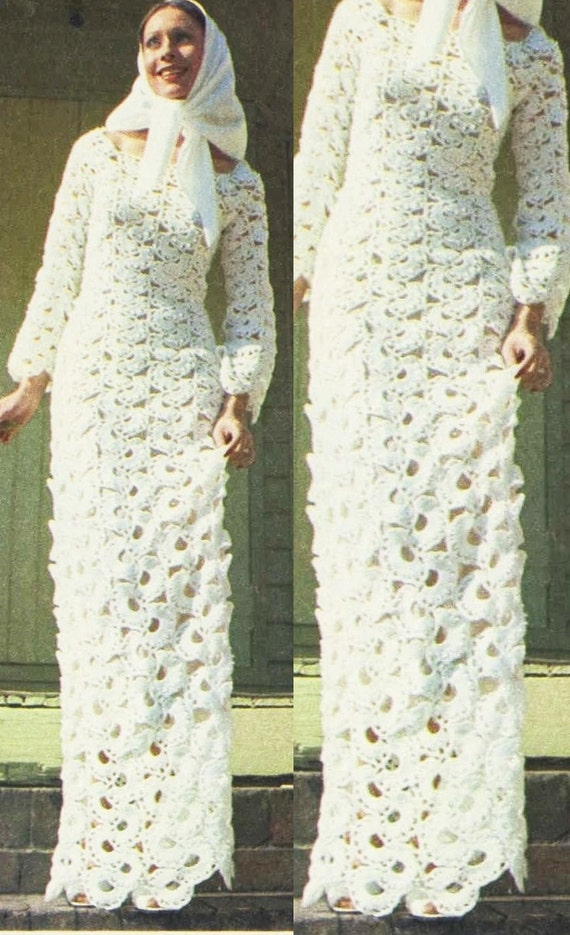 Crochet Pattern - Panel Wedding Dress - Bridal Gown - 70s Crochet ...