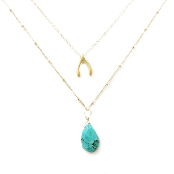 Gold Wishbone Pendant and Turquoise Drop Layer Necklace