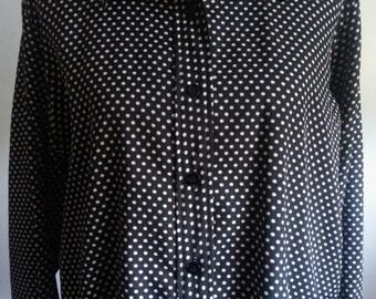 Vintage 1960s Womens Sears Mod Black and White Polka Dot Blouse Plus Size 14/16 1X XL