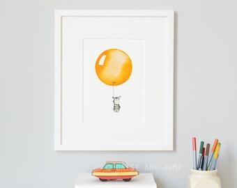 Orange, UNFRAMED Balloon Art, Nursery Picture, Bright, Modern, Whimsical, Children's Wall Art, Bedroom Decor, Baptism Gift, UK Kid's Art