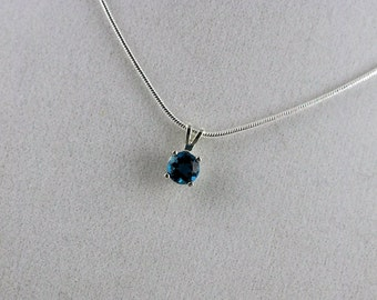 London Blue Topaz Pendant - Necklace Solitaire Pendant - Necklace - Sterling Silver Setting with a 6mm London Blue Topaz