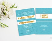 Printable wedding invitation set Blue and yellow wedding invitation Modern wedding invitation