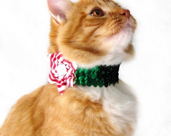 Candy Cane Striped Flower on a Green Sequined Collar for both Dogs & Cats
