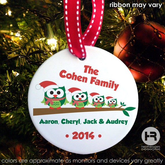 Personalized Owl Family ornament