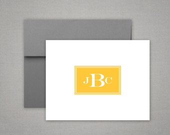 Masculine Stationery | Monogram Notecards | Stationary Set | MANLY BORDER | Personalized Folded Note Cards