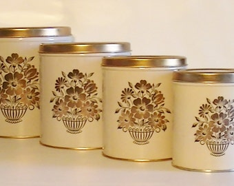 Vintage Set of 4 Decoware Tin Kitchen Canisters