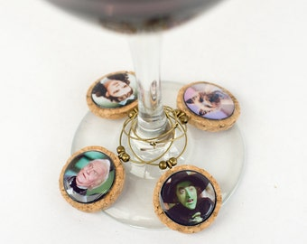 Wine Charms, 8 Wizard of Oz Wine Charms, Classic Movie Wine Glass Charms, Funny Wine Charms, Girls Night Charms, Drink markers