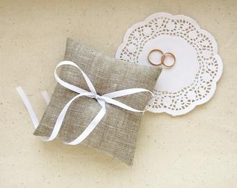 Wedding Burlap Ring Pillow Rustic