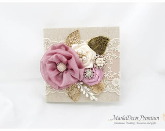 Wedding Lace Linen Guest Book and Pen Set Custom Jeweled Bridal Guest Book Flower Brooch Books Birthday Book in Dusty Purple and Ivory