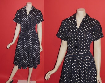 Vintage 1950's Lucy 50's Polka Dots House Day Dress Midnight Blue Womens Dress - M