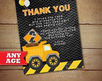 SALE!! Construction Thank You Card, Construction Party, Construction Birthday, Construction Invitation, Boys Construction, Dump Truck, Truck