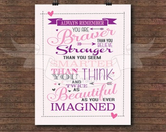 You are braver than you think you are, Pink and Violet, Winnie the Pooh typography, print, subway art, Girl bedroom