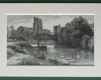 Antique Print of All Saints Church, Maidstone, Kent. Victorian Christian architecture art, religious English art - antique Church picture