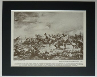 1919 Antique Military Print of the 4th Canadian Battalion at Ypres Vintage WWI battle art, First World War decor of the 2nd Battle of Ypres