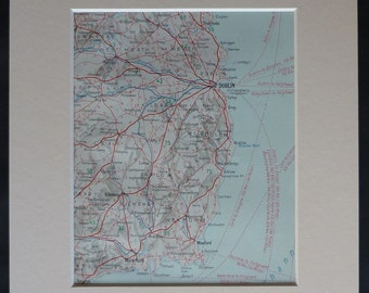 1930s Vintage Map of Dublin and the Surrounding Area Map of the capital city of Ireland, vintage Irish road map, Waterford, Wexford, Wicklow