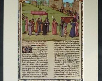 Vintage Print of the Coronation Procession of Richard I Medieval British royal decor, Chronique d'Angleterre artwork - English Interior Art