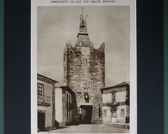 1930s Vintage Sepia Print of the Clocktower of Caminha Portuguese architecture picture, vintage architectural art, Medieval Clock Tower Gift