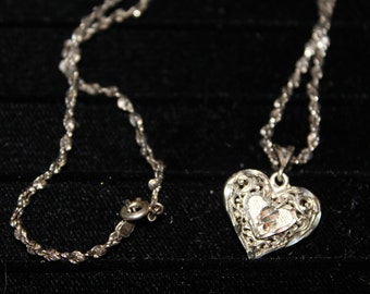 Vintage 1980's Filigree Sterling Silver Puffed Heart Pendant/Necklace