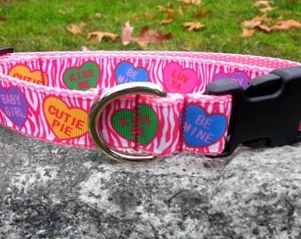 Pink Valentine's Day Heart Candy 1 Inch Width Dog Collar